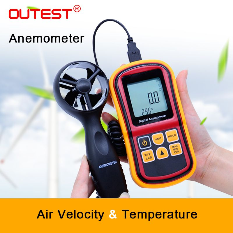 OUTEST GM8901 45m/s (88MPH) LCD Digital Hand-held Wind Speed Gauge Meter Measure Anemometer Thermometer