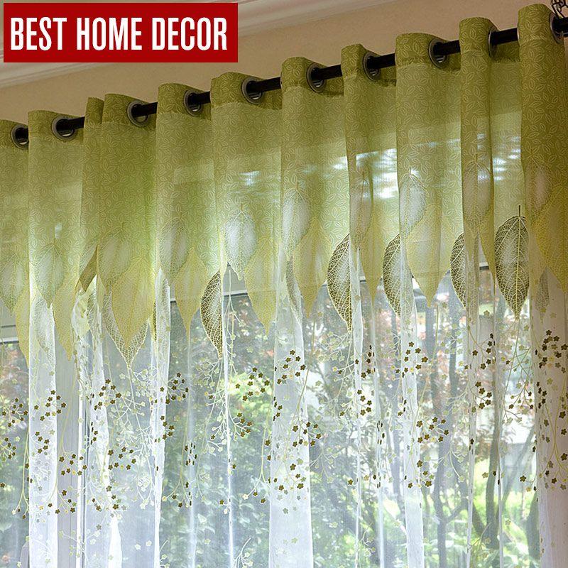 BHD pure tulle rideaux de fenêtre pour salon la chambre la cuisine moderne tulle rideaux vert feuilles tissu stores rideaux