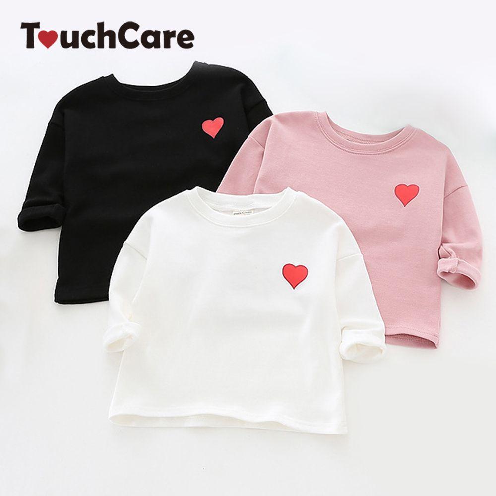 Touchcare осень милый красный сердце для маленьких девочек футболка с длинными рукавами для новорожденных Одежда для маленьких девочек Однотон...