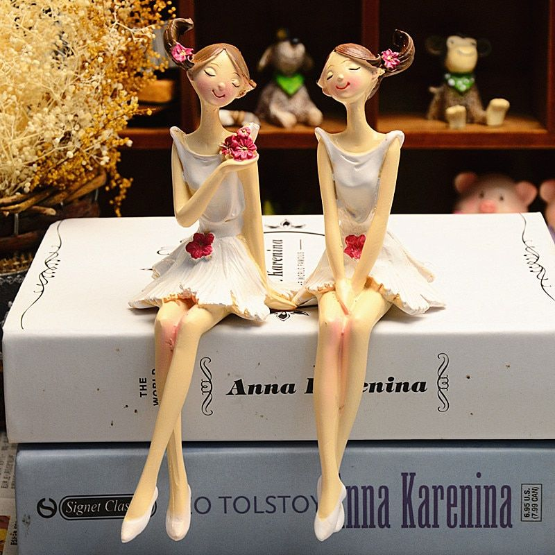 2 pcs/ensemble Belle Ange Résine Artisanat Fée Figurines Cadeau De Mariage Décoration de La Maison U0926