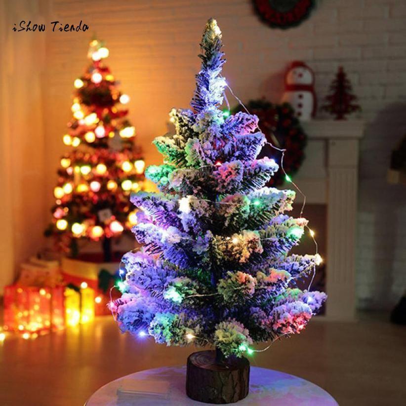 ISHOWTIENDA New 1PC 50cm Artificial Flocking Snow Christmas Tree LED Multicolor Lights Holiday Decoration Christmas Tree Decor