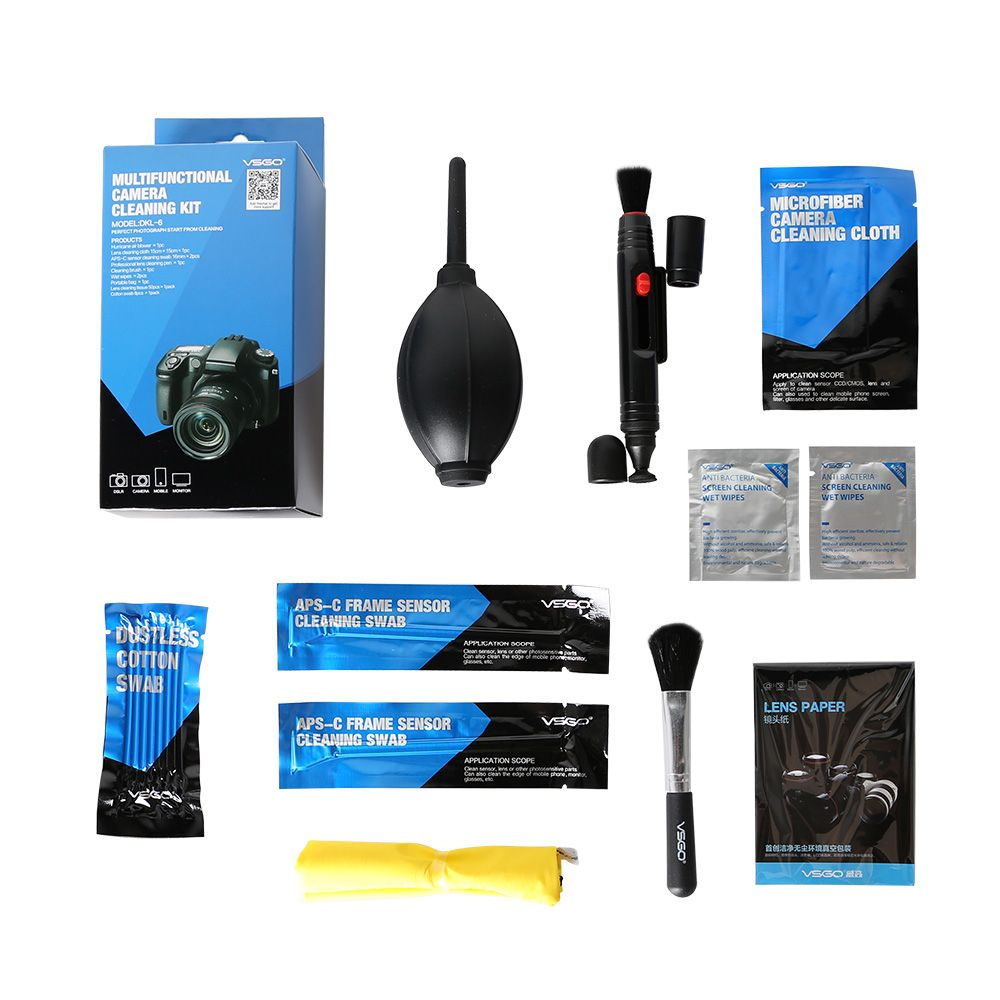 9 in 1 VSGO Camera Cleaning KIt DKL-6 for <font><b>Nikon</b></font> Canon Sony Fujifilm Hasselblad Cameras Lens/Sensor