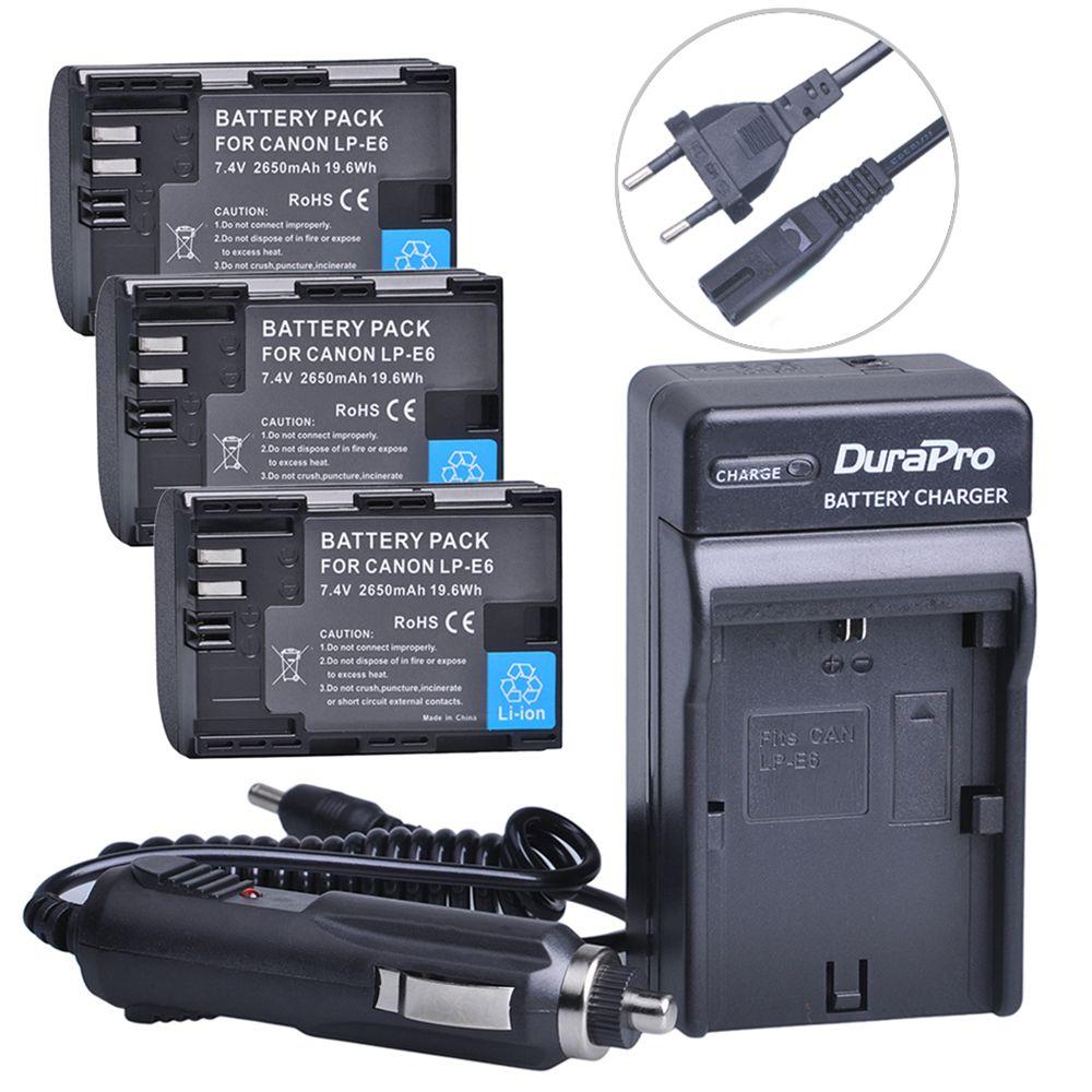 3pc LP-E6 LP E6 LPE6 LP-E6N Rechargeable Battery+Car Charger+AC Cable For Canon LP-E6 EOS 5DS R 5D Mark II 5D Mark III 6D 7D 80D
