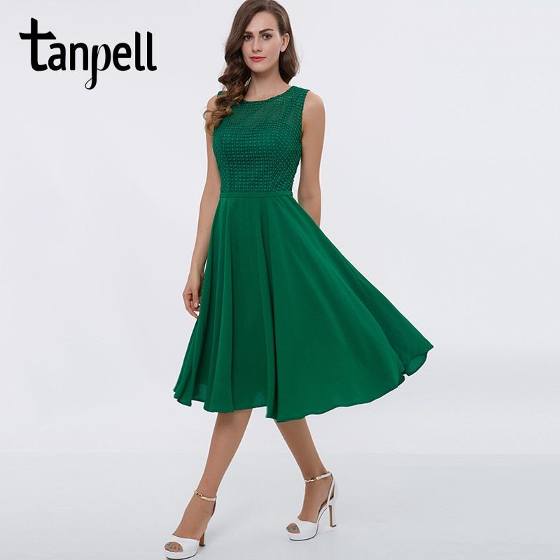 Tanpell short homecoming dress green scoop lace sleeveless tea length a line gown women graduation cocktail homecoming dresses