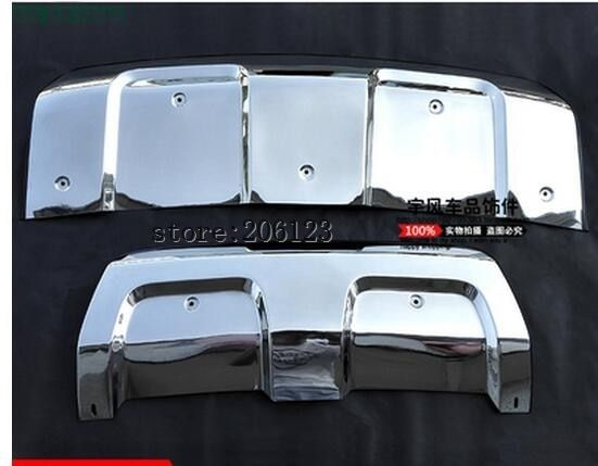 2pcs Stainless Steel Front + Rear Bumper Guard Protector Skid Plate Board for Land Rover Range Rover Sport 2014 2015