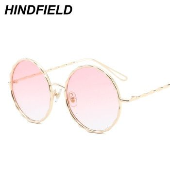 Big Round Sunglasses Women Pink Transparent Eyewear See Through Goggles Ladies Luxury Alloy Legs Clear Shades Candy Color Oculos