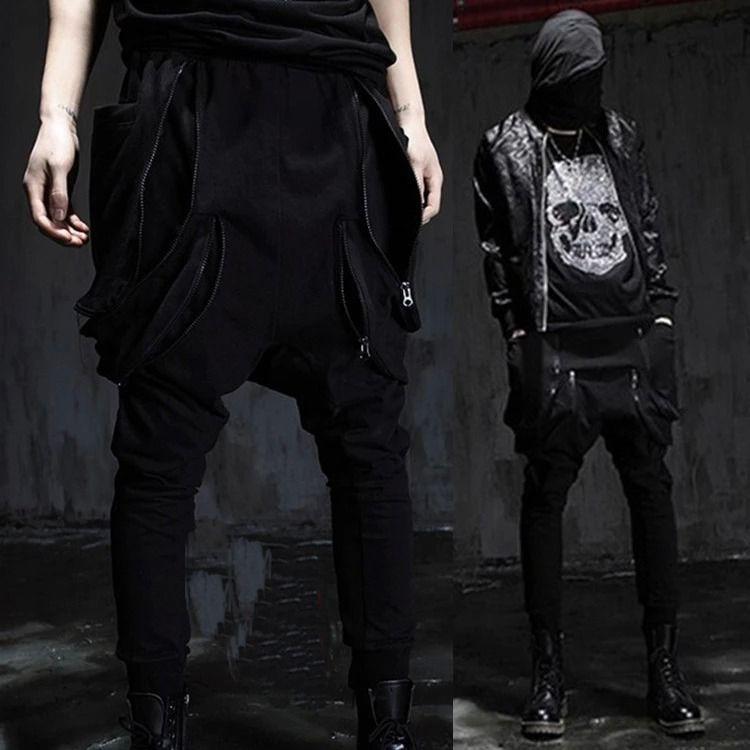 Plus Size New Avant-garde Mens Casual Baggy Harem Pants Double Zippered Low Drop Crotch Sweatpants Ankle Length Pants Size 27-32