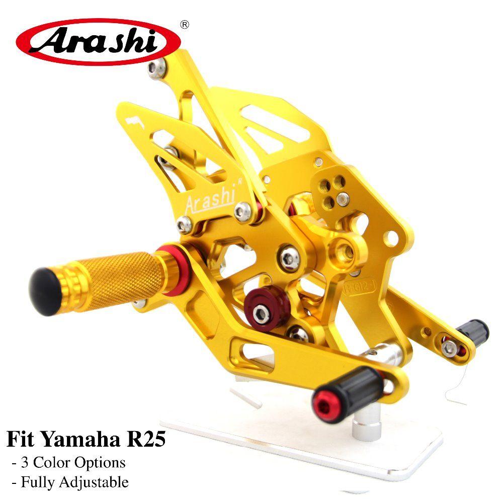 Arashi 1 Set Rider CNC Adjustable Footrest For YAMAHA R 3 R 25 YZF R3 R25 2015 2016 2017 2018 Foot Pegs Rear Sets