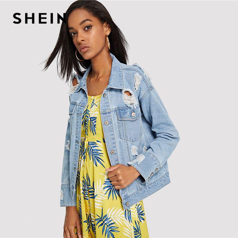 SHEIN Light Wash Destroyed Denim Jacket <font><b>Blue</b></font> Button Pocket Ripped Jackets Women Autumn Single Breasted Plain Rock Coat