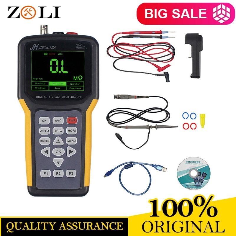 Jinhan JDS2012A Handheld Oscilloscope 1 Channels 20MHz Oscilloscope with 4000 Multimeter Oscilloscope JDS2012A Multimeter