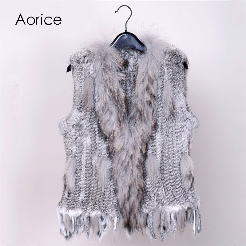 18 colors  Women Genuine Knitted Rabbit Fur Vests  with tassels Raccoon  Fur Trimming Waistcoat wholesale drop shipping VR032
