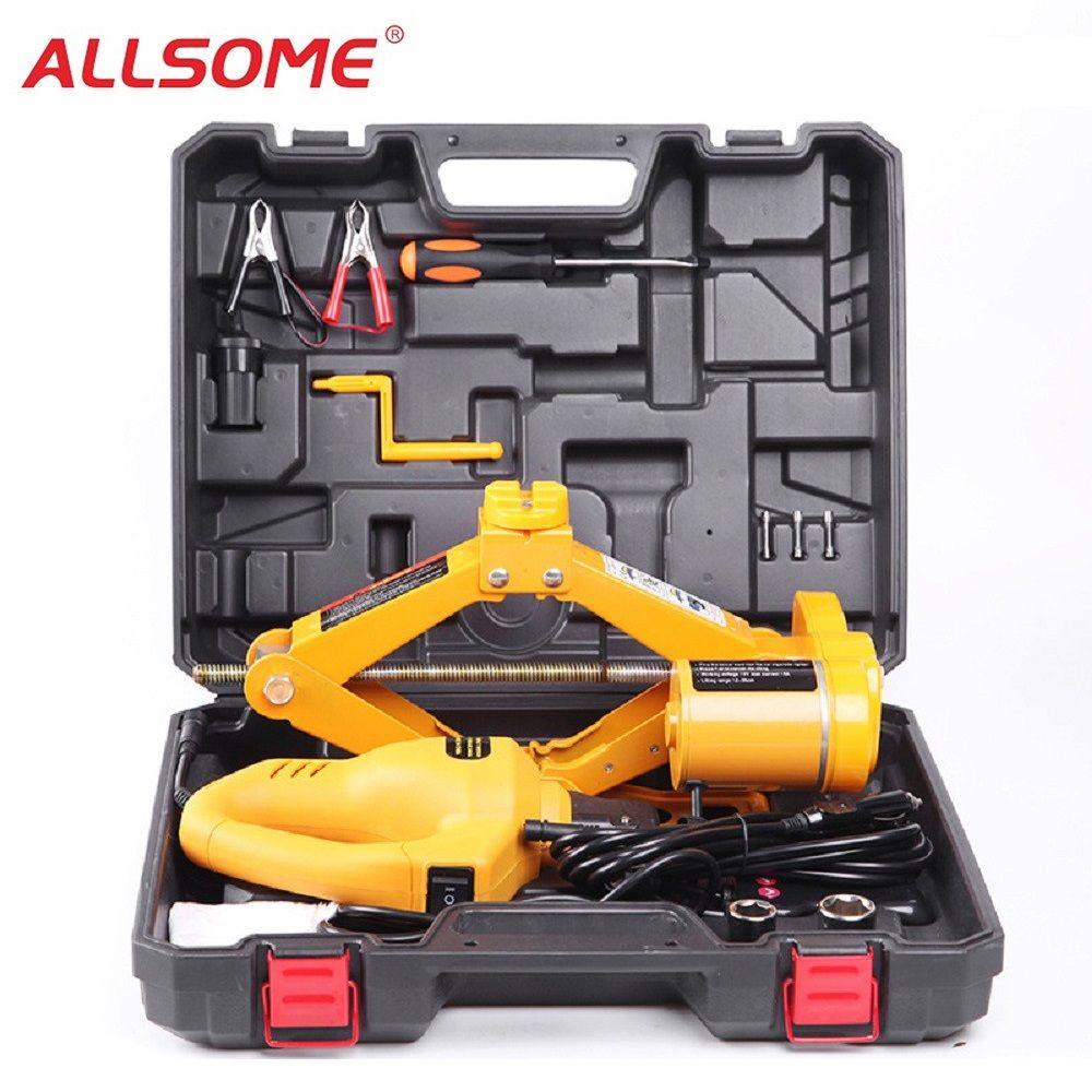 ALLSOME DC12V Electric Wrench 3 Ton Automotive Car Electric Scissor Hydraulic Jack Lift Garage SUV Emergency Tools Impact Wrench