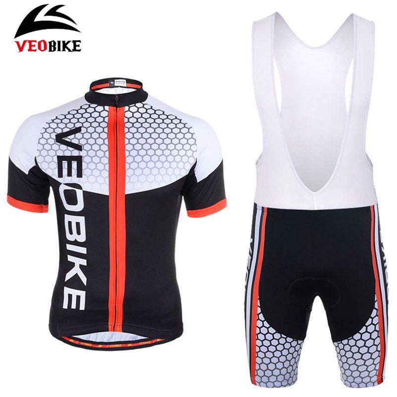 VEOBIKE Ropa Ciclismo Bicycle Jersey Short Sleeve Jersey + Gel Padded Bib Quick-dry Men Pro Riding Team MTB Bike Cycling Jersey