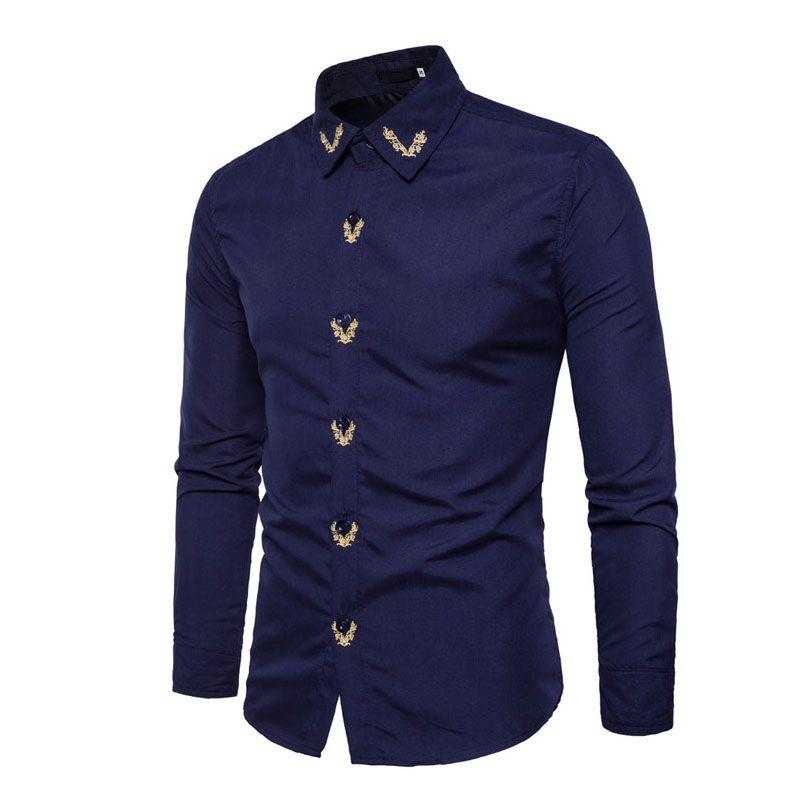 HOT 2017 spring autumn Fromal business Men shirts men England shirt embroidery Slim long sleeve wedding evening casual shirt