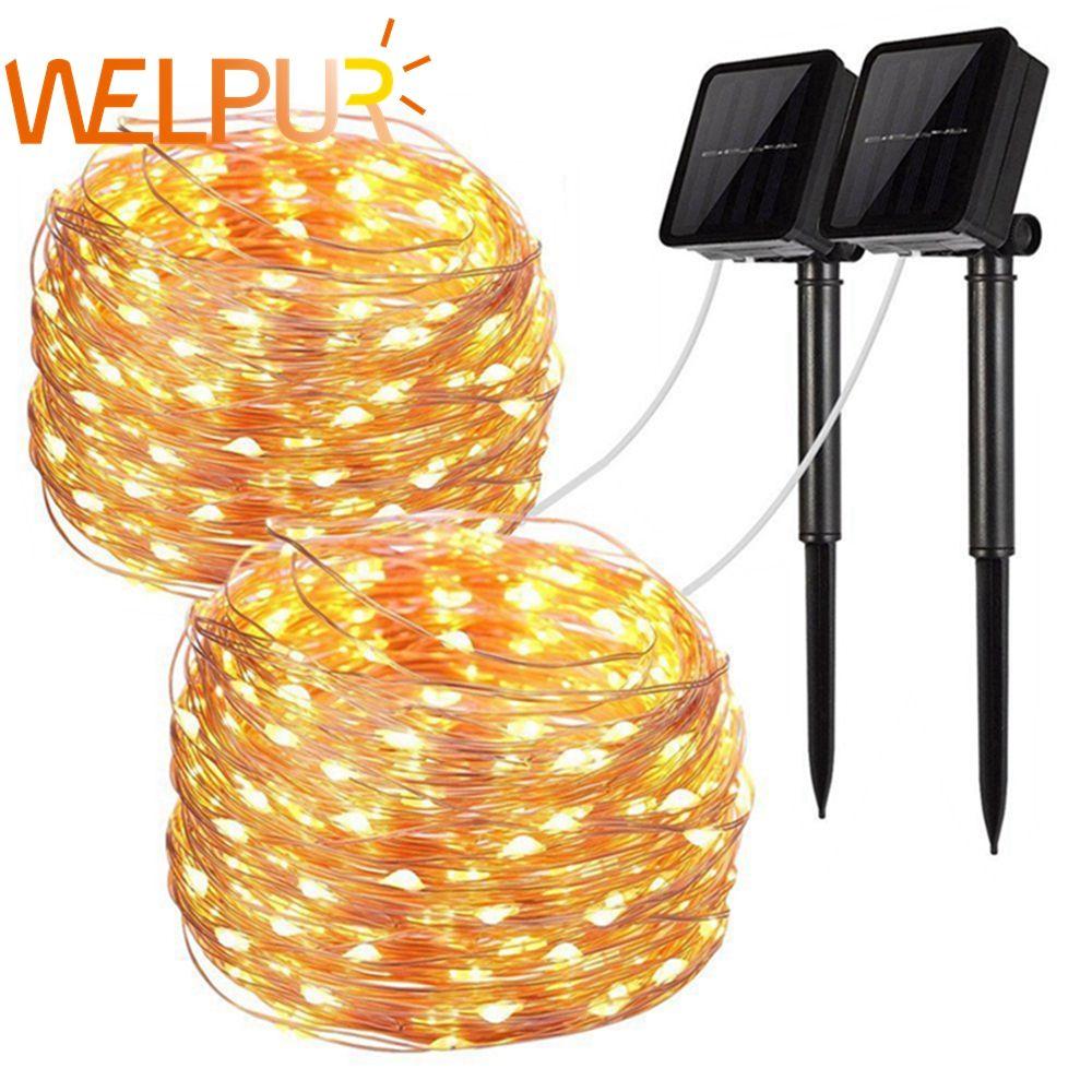 LED lampe solaire extérieure chaîne lumières 100/200 LED s fée vacances noël fête guirlande solaire jardin étanche 10m