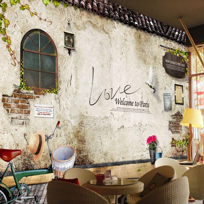 Personnalisé Photo papier peint peintures murales classique vieille rue mur Photo Paris cuisine café Restaurant toile De fond papier peint papier peint papier De Parede 3D
