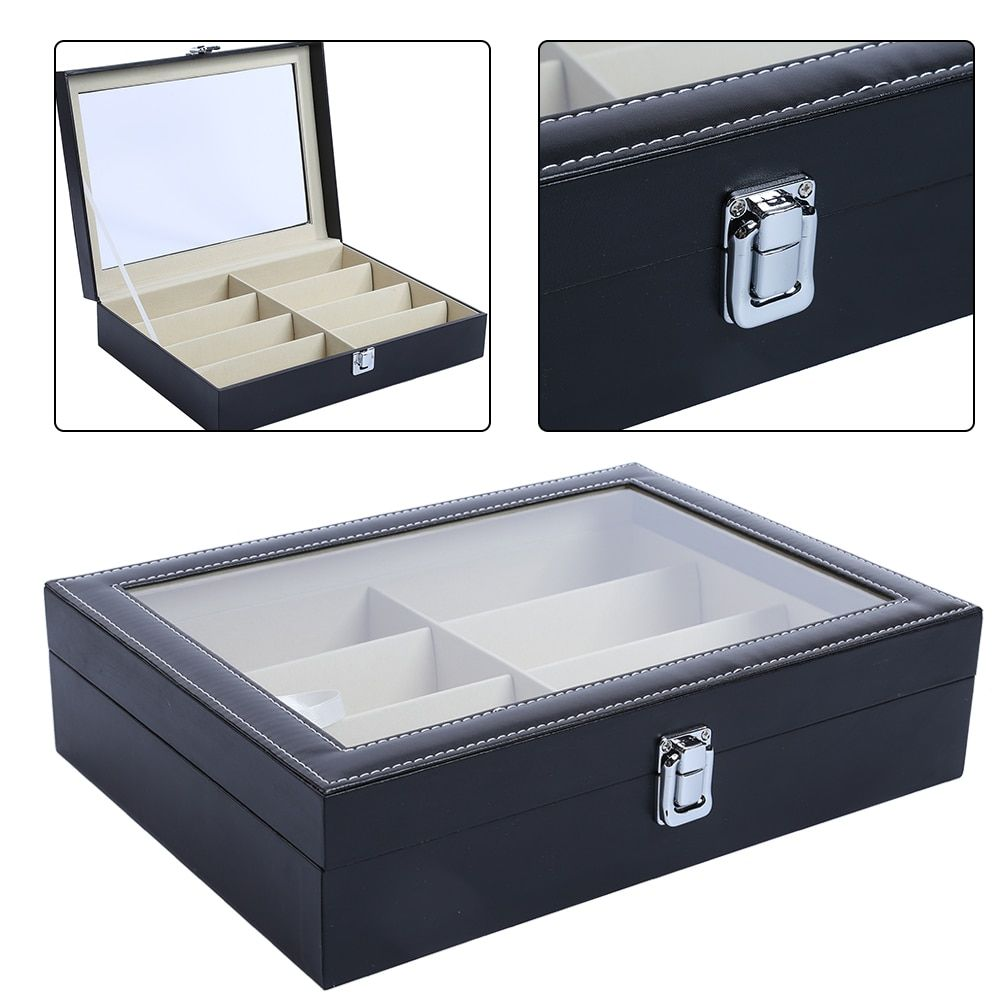 8 Grids PU Leather Watch Box Holder Jewelry Collection Display Watch Storage Box Sunglasses Glasses Case Box Organzier