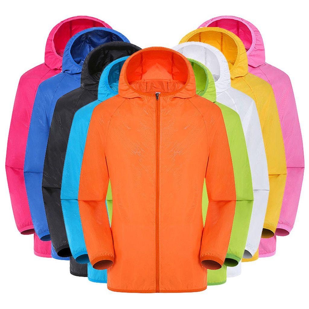 Hommes femmes vestes décontractée Plus Szie couleur bonbon coupe-vent Ultra-léger résistant à la pluie coupe-vent à capuche manteau vestes damen z0530