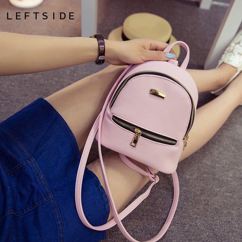 LEFTSIDE 2017 Women Leather Backpack children backpack mini backpack women cute back pack backpacks for teenage girls small bag