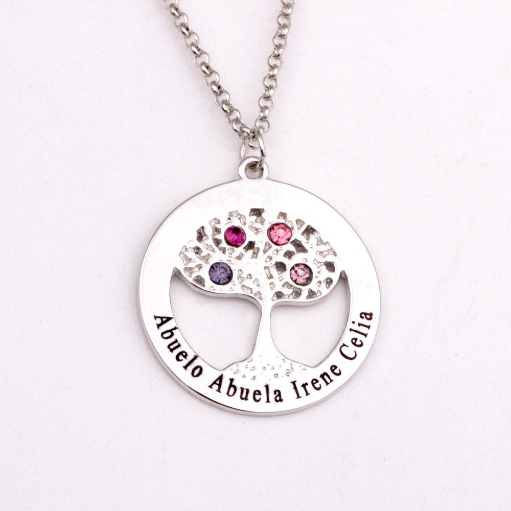 Circle Tree Pendant Necklace with Birthstones 2018 New Arrival Long Birthstone Necklaces Custom Made Any Name YP2495
