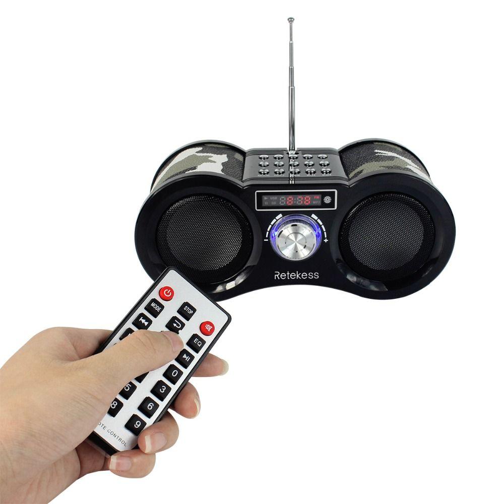 RETEKESS V113 Camouflage Stereo Digital FM Radio USB/TF Card Speaker MP3 Music <font><b>Player</b></font> With Remote Control Receiver Radio F9203M