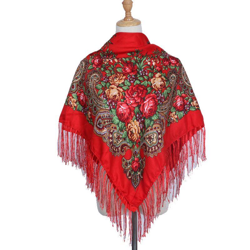 2018 marque mode châle écharpe longue hiver gland Bohe coton carré motif écharpe femmes imprimé surdimensionné châles à envelopper écharpes