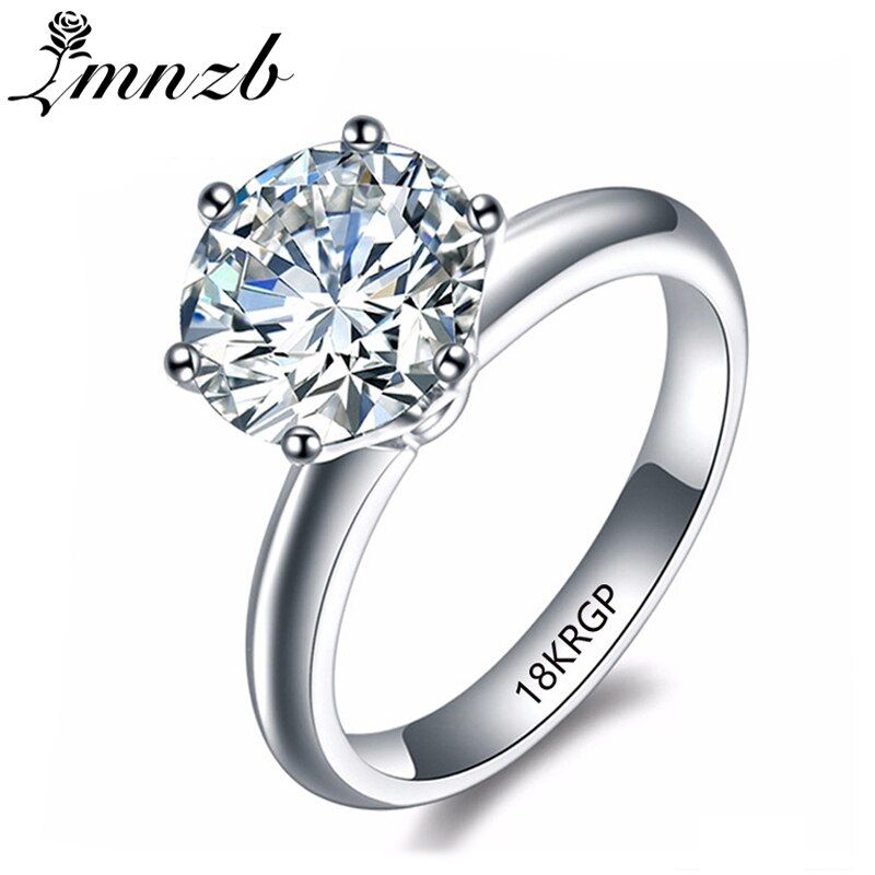 LMNZB Luxury 2 Carat White Solitaire Ring Gold Filled with 18KRGP Stamp Cubic Zirconia Engagement Wedding Rings for Women LR168