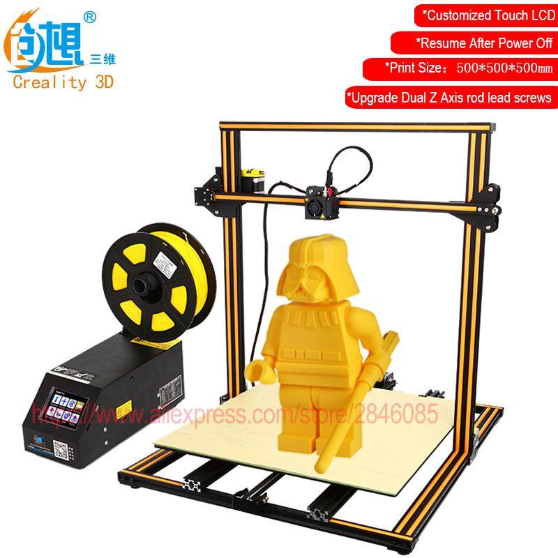 Táctil LCD opcional creality 3D CR-10 tamaño de impresión grande 3D impresora DIY Kit cama calentada de aluminio + placa de vidrio + filamentos libres