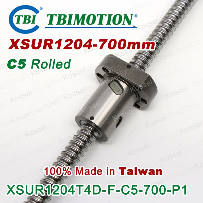 TBI 1204 ball screws 700mm Rolled C5 with XSU ballnut XSU1204 SFU1204 + end machined of high stability CNC parts rm1204 set