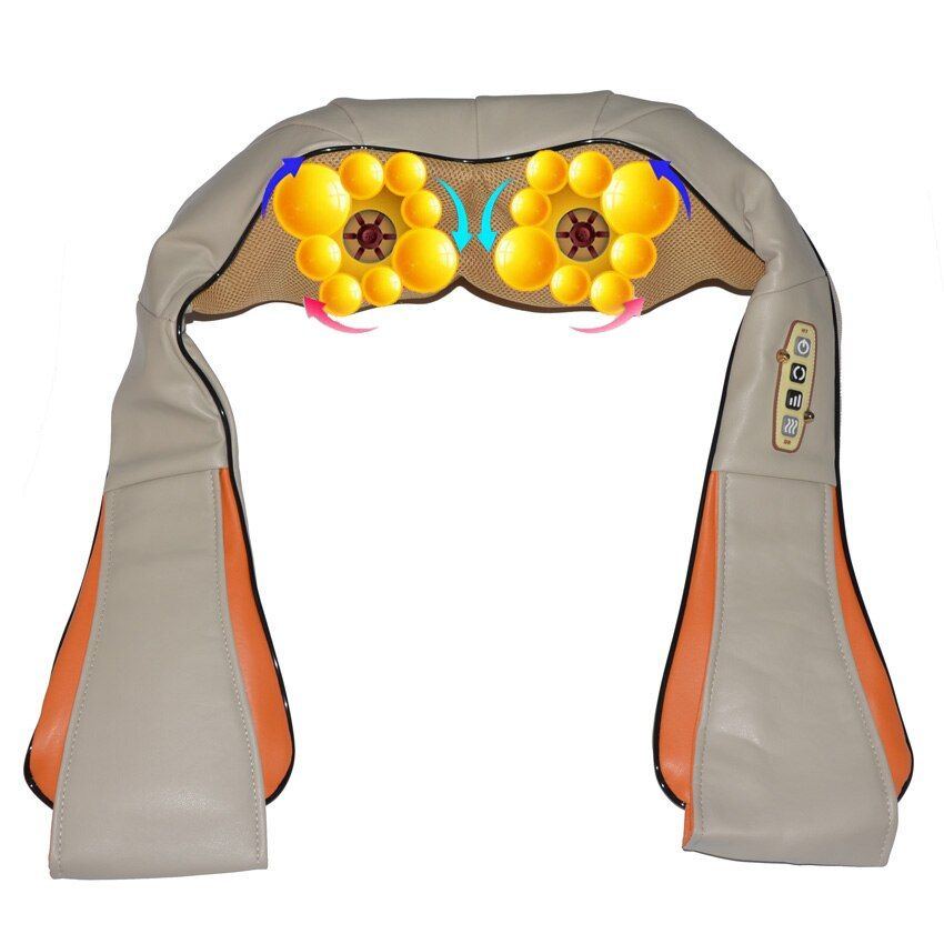 Amkee 16 Massage Ball Electric Shiatsu Back Neck Shoulder Body Massager 4D Infrared Kneading Massager Car Home Dual Use Machine