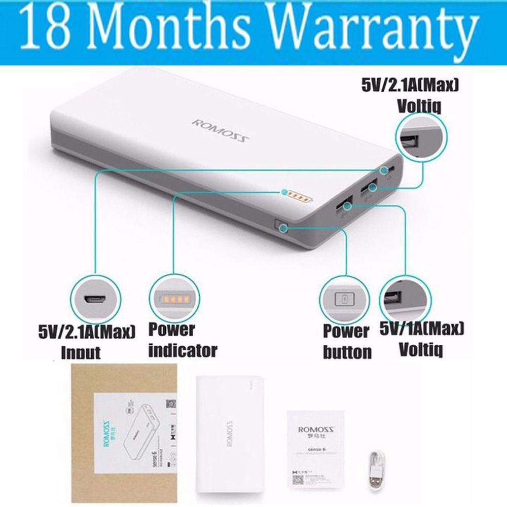 Romoss 20000 mah Energienbank 20000 mah Gefühl 6 18650 Power 2.1A Schnelle Ladegerät für Xiaomi Samsung Huawei iPhone Universal