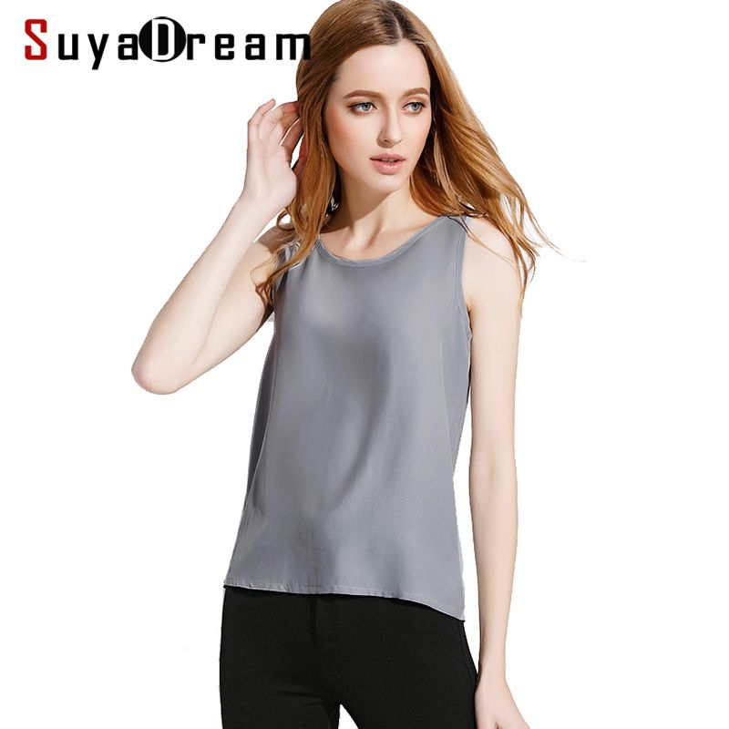 Femmes soie réservoir hauts 100% soie naturelle chemise sans manches en mousseline de soie réservoirs solide haut basique chemise 2019 été gris noir rose vin