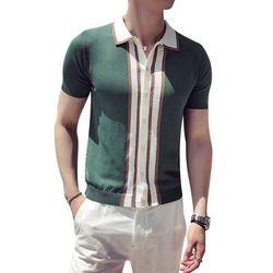 Kontras Knit Stripe Polo Kemeja Pria Inggris Busana Lengan Pendek Polo Camisa Masculina Polo Playera Polo Hombre Hitam Hijau
