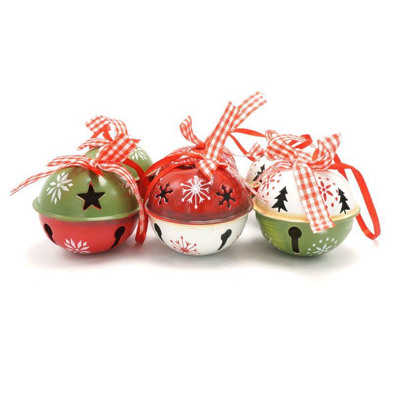 De noël décoration pour la maison 6 pcs rouge vert blanc métal jingle bell avec ruban joyeux arbre De Noël décoration 50mm de noël