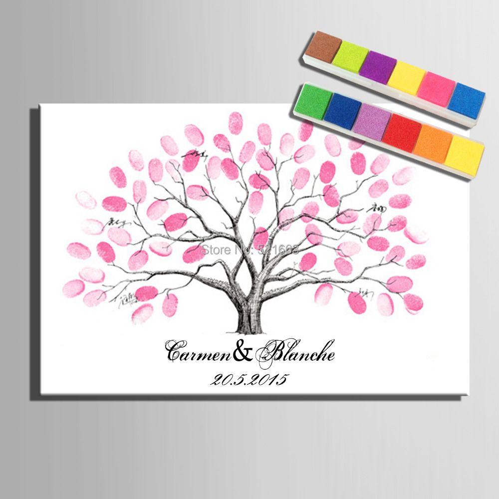 Empreinte digitale Signature impression sur toile arbre de mariage cadeau de mariage bricolage décoration de nombreux styles (inclure 6Ink Colors)