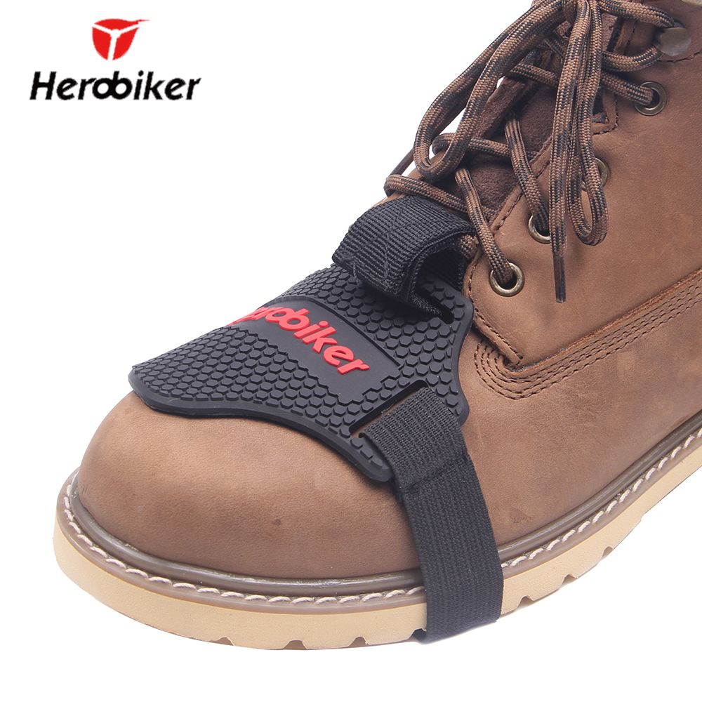 HEROBIKER Wear-resisting Rubber Motorcycle Gear Shift Pad Riding Shoes Scuff <font><b>Mark</b></font> Protector Motorbike Boots Cover Shifter Guards