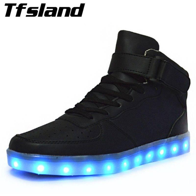 Tfsland New Women Men LED Light Up Sneakers Chaussures luminous Adults Couples Comfortable Glowing Hip-hop Skateboarding Shoes