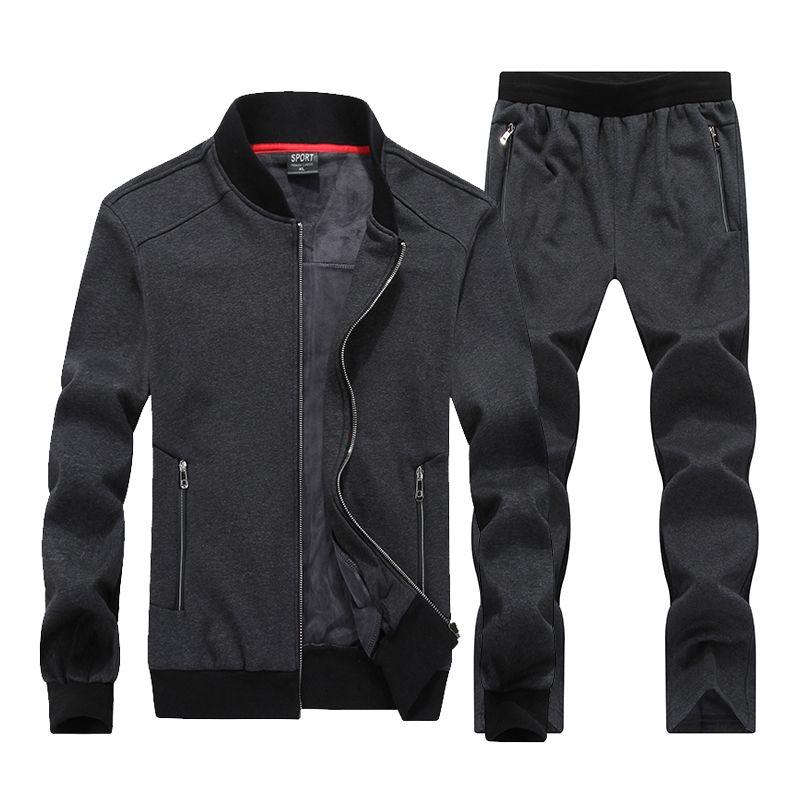 7XL 8XL Big Size Sport Suits Men Sportswear Sets Warm Gym Clothes Fleece Fabric Male Winter Tracksuit Running Jogging Suit Mens