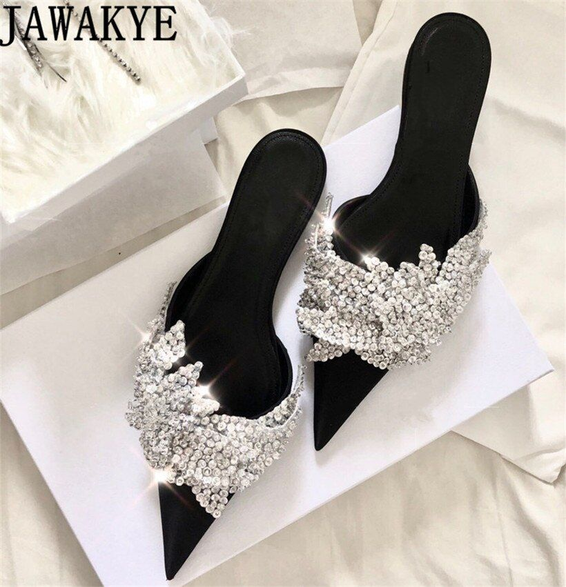 Runway satin Summer Slippers women Luxury Design bling bling crysatal Pointed Toe beach Shoes rhinestone unicornio mules ladies