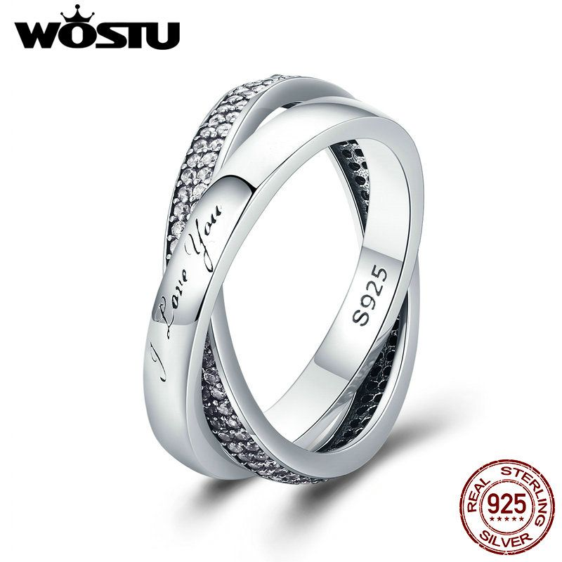 WOSTU New 100% 925 Sterling Silver Sweet Promise Ring, Dazzling CZ Finger Ring for Women Wedding Fine Jewelry Gift XCH7651