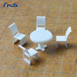 Model Skala 1:50 Model Bulat Meja Makan & Empat Kursi Adegan Set Miniatur Furniture