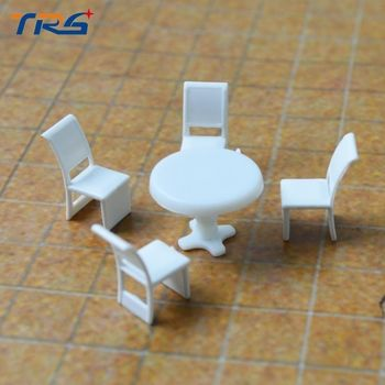 Scale Model 1:50 Model Round Dining Table & four Chairs Scene Set Miniature Furniture Decoration