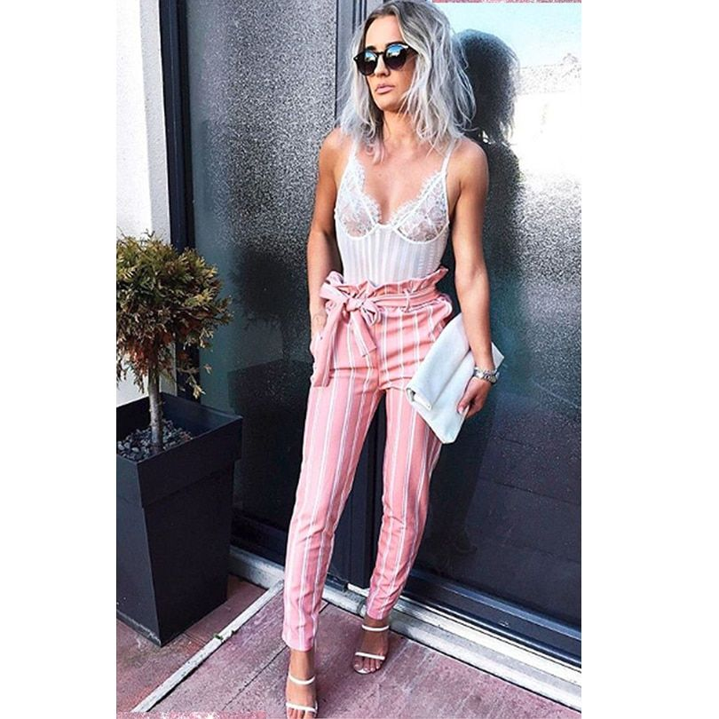 New Pink Double Striped Pants High Waist Pencil pants Women stringyselvedge summer style sexy pants female trousers