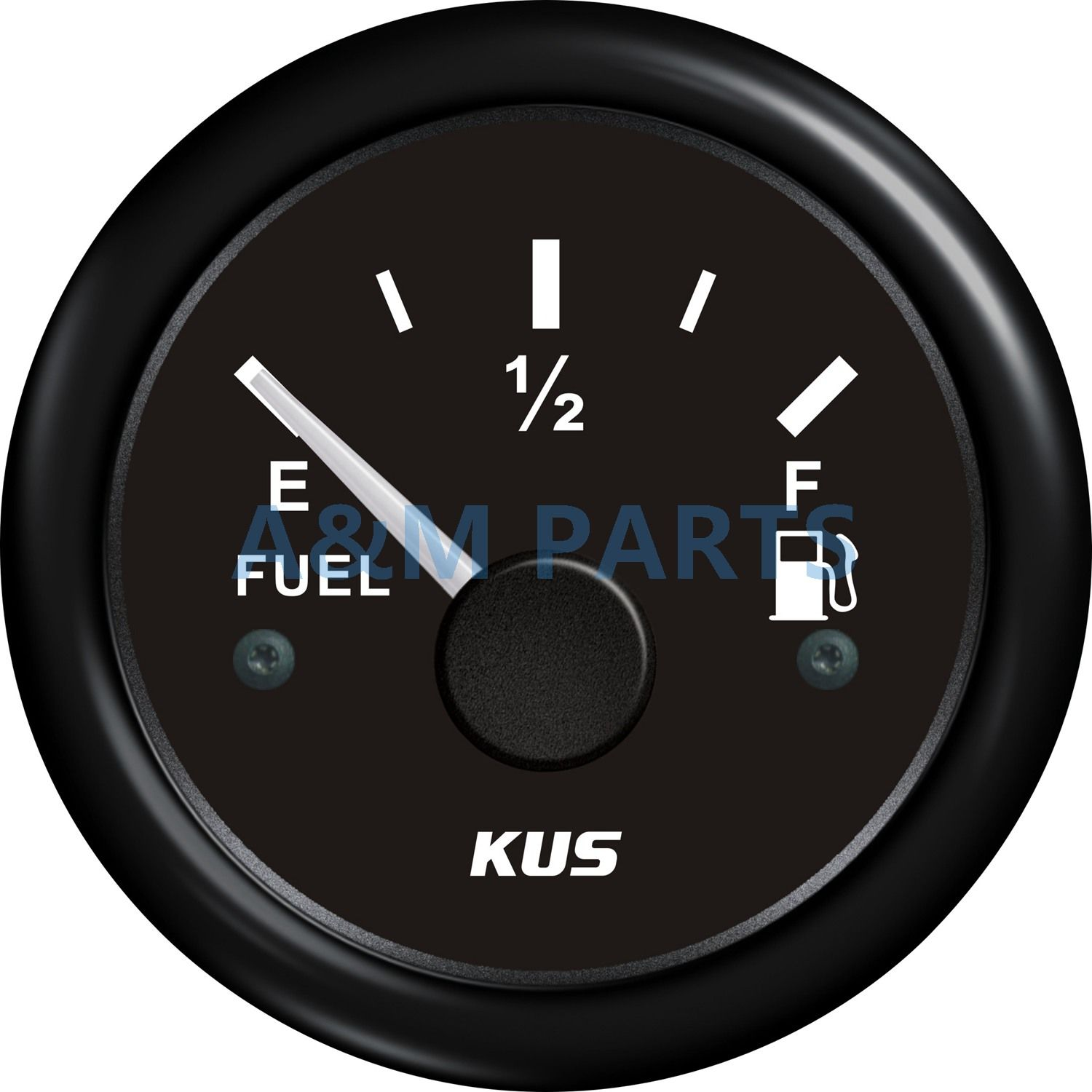 KUS Fuel Level Gauge Marine Boat Truck RV Offroad Fuel Tank Level Gauge Black 52mm 0-190ohms Waterproof