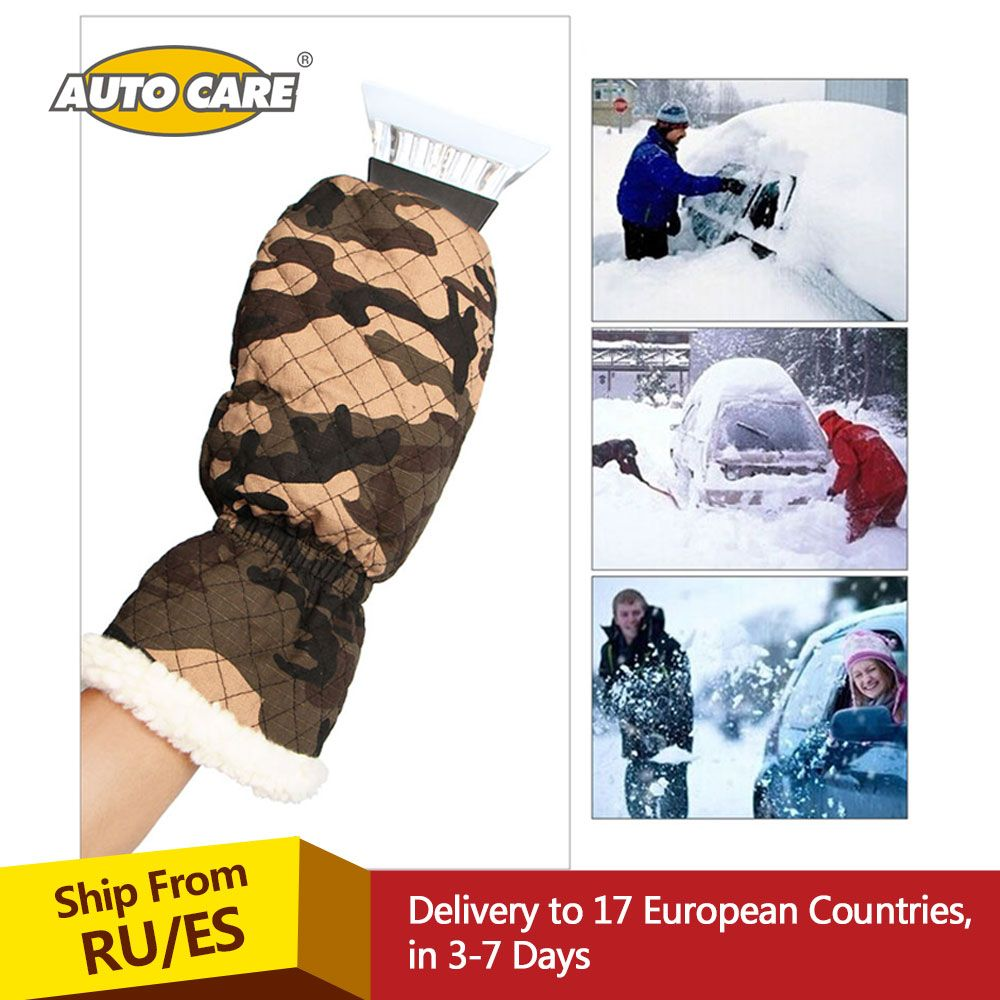 Premium Ice Scraper Mitt For Car Windshield Snow Scrapers with Waterproof Glove Lined of Thick Fleece to Keep Your Hands Warm