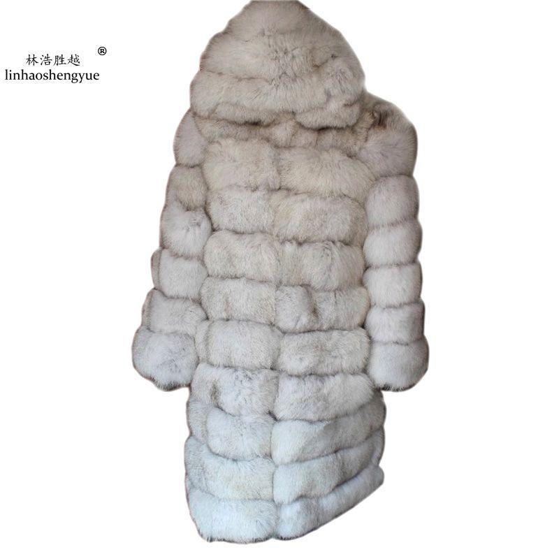 Linhaoshengyue 100 CM länge Die echt fuchs mantel mit kapuze