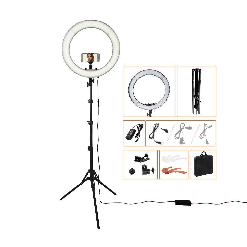 Fusitu RL-18 55W 5500K 240 LED Photographic Lighting Dimmable Camera Photo/Studio/Phone Photography Ring Light Lamp&Tripod Stand