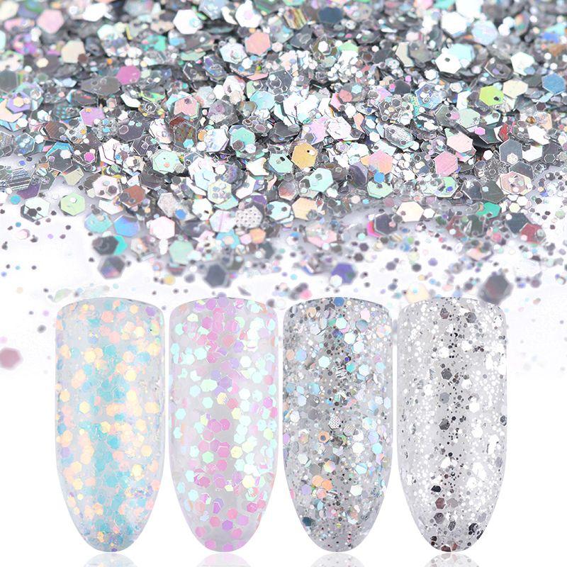 1 Box Shiny Nagel Glitter Pailletten Pulver Blau Rosa Weiß Silber Nagelspitzen Maniküre Nail art Dekorationen