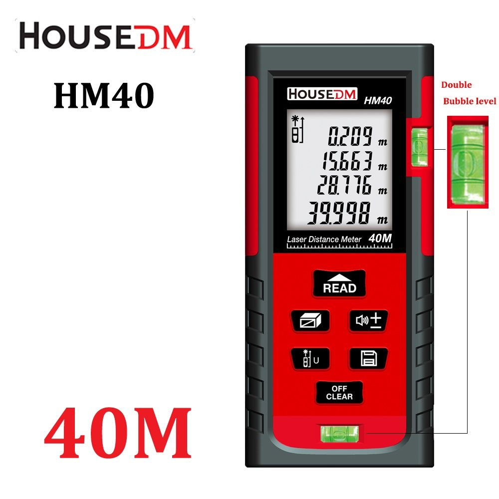 HOUSEDM Digital laser Distance Meter 40M Bubble Level Rangefinder Range Finder Tape Measure diastimeter Area/Volume tester tools