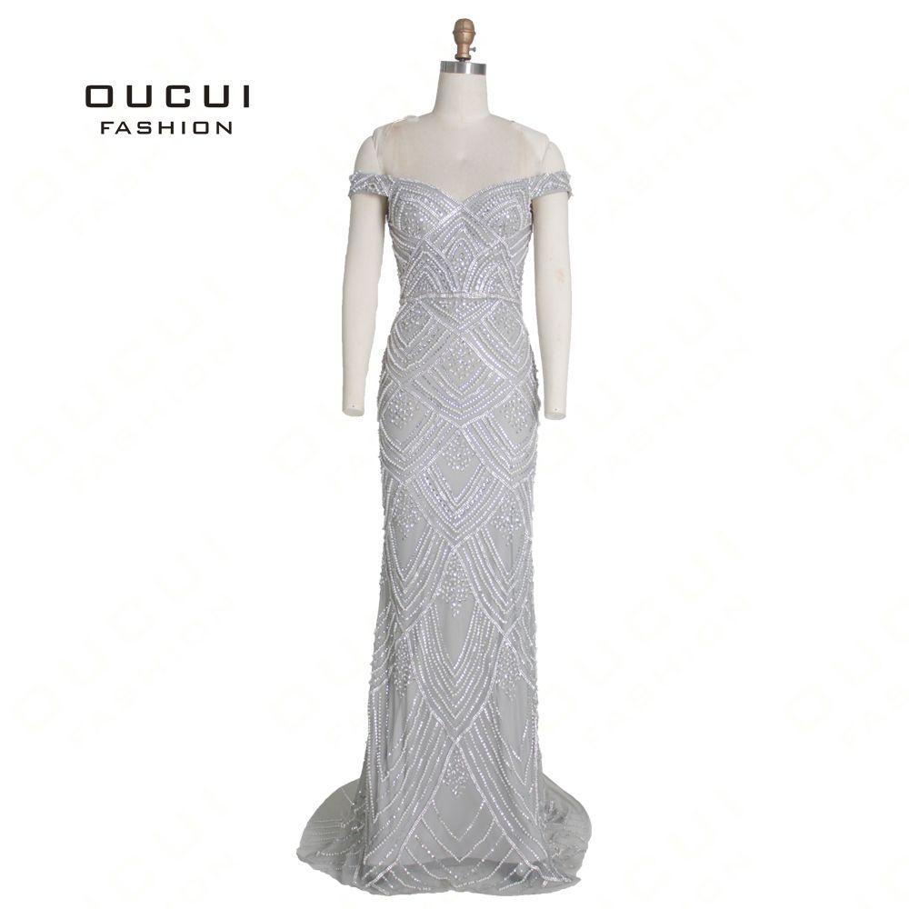 Dubai Silber Luxus Sexy Schatz Abendkleider 2019 Weg Von Der Schulter Diamant Perlen Meerjungfrau Kleider Robe De Soiree OL103369B